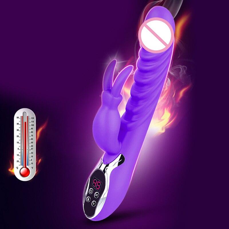 12 vitesses lapin vibrateur numérique chauffage baguette magique vagin Clitoris Stimulation USB charge Massage bâton Sex Toy pour les femmes