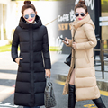 Winter Women Long Coat Fashion Down Cotton Coat Thicken Warm Woman Coat Maxi Long Jacket Slim Hooded Women Outwear Female Parkas