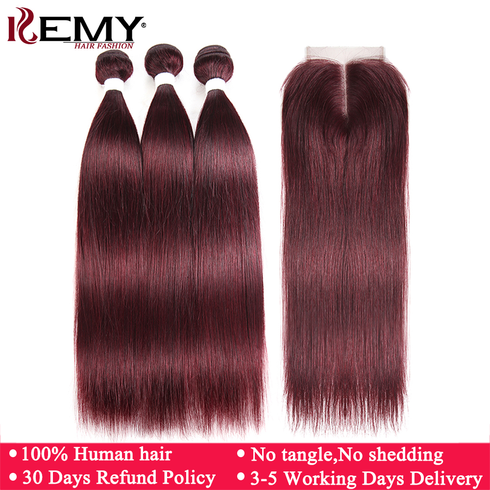 99J/Burgundy Human Hair Bundles With Closure 4*4 Non-Remy Red Color Brazilian Straight Human Hair Weave Bundles 3 PCS KEMY HAIR