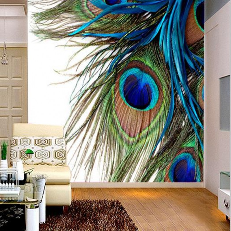 Beibehang Custom Wallpaper 3d Stereo Murals Peacock Feathers