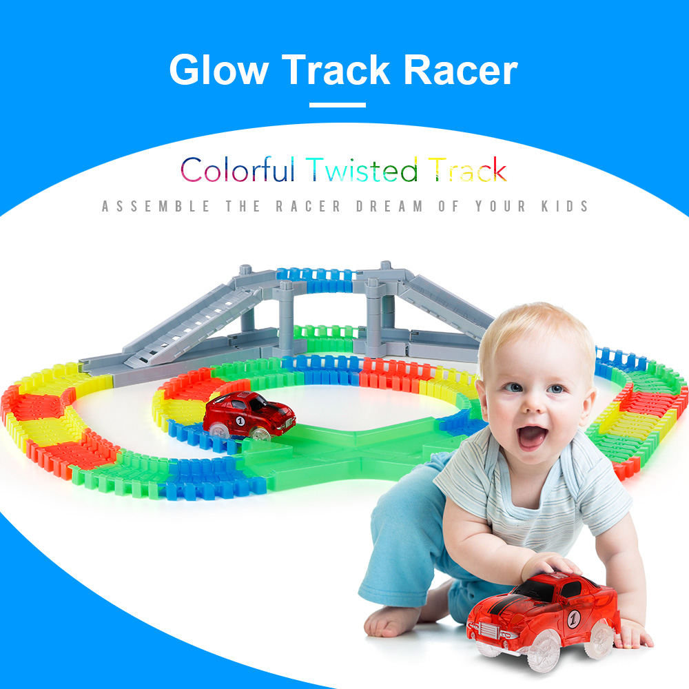 166PCS Twisted Tracks Flexible Assembly Track Glow in the Darkness with Bridge Crossroad Train Track Car Racing Toy Kids Gift P0