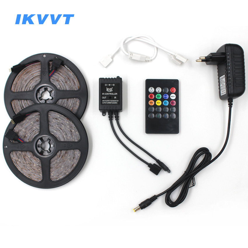 IKVVT RGB led strip light 5M 10M 15M Waterproof SMD 2835 Diode Tape led Ribbon with Music Remote Controller DC12V Power Adapter 10m 5m 3528 5050 rgb led strip light non waterproof led light 10m flexible rgb diode led tape set remote control power adapter