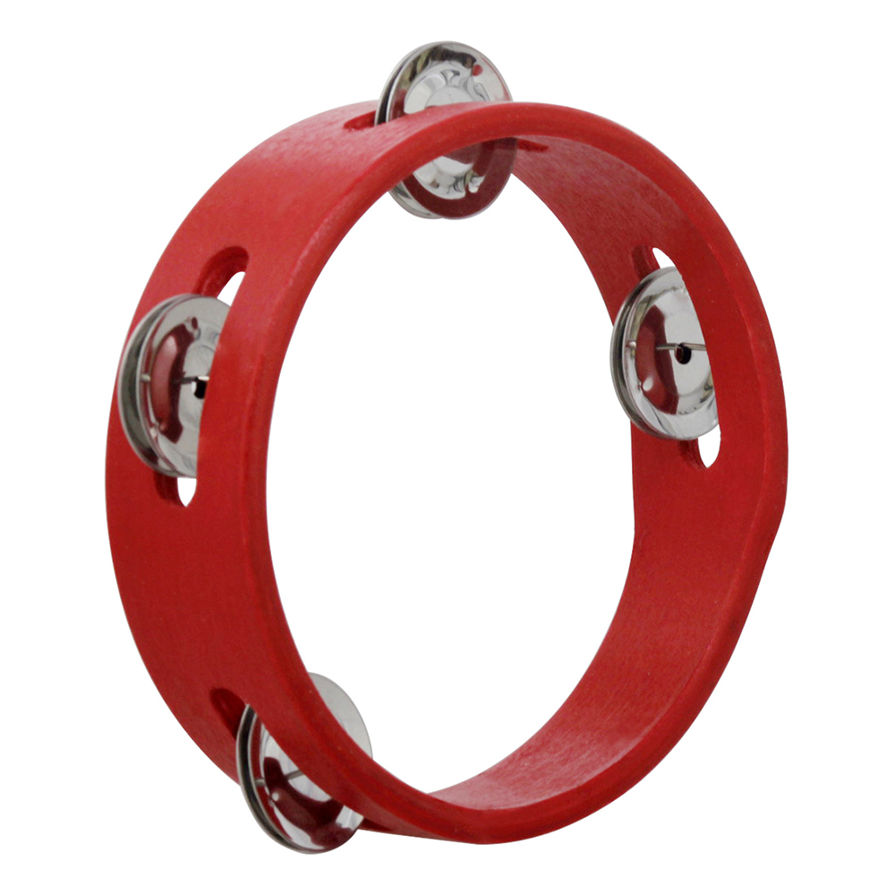 Handheld Wooden Tambourine Hand Bell Percussion Music Toy Single Row Metal Red For Children Games Children Gift 6 Inches