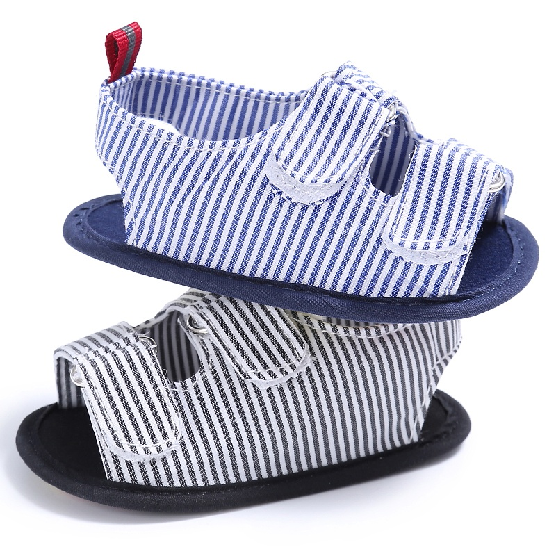 New Summer Holiday Beach Toddler Baby Boys Fashion Breathable Anti Slip Crib Stripe Shoes Kids Shoes Prewalkers Sandals P1
