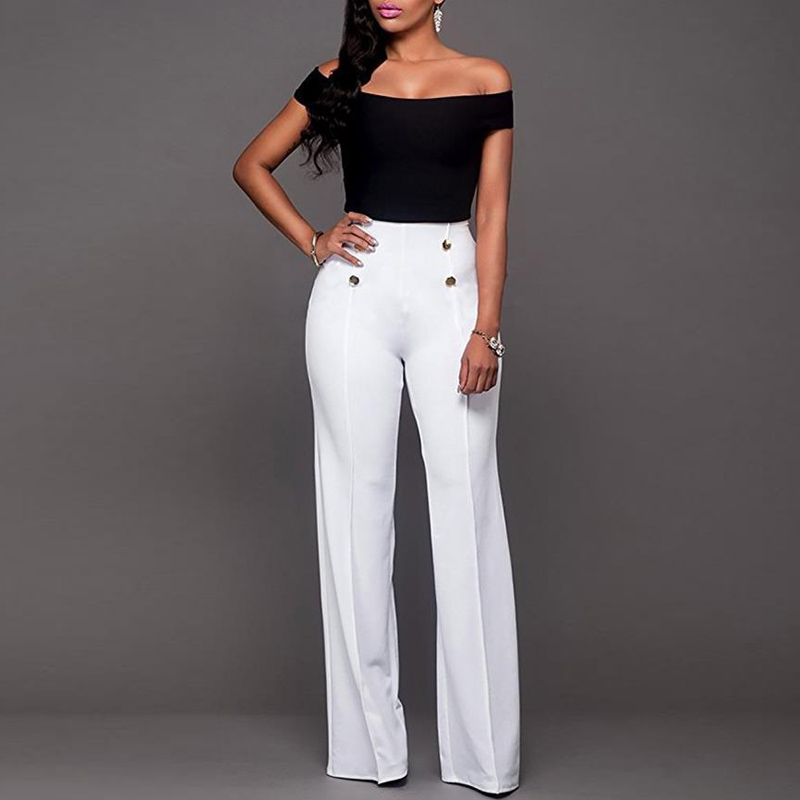 women solid color   wide     leg     pants   ladies oL office long trousers Elegant High Waist Boot-cut Long flare   Pants