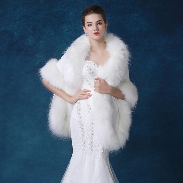 e32c77d5f4 Kobiety Kurtki Zimowe Białe Futerko Ślubne Specjalne Okazje Party Szale  Okłady Peleryny Płaszcz