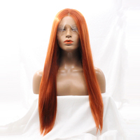 Dlme Free shipping Heat Resistant Silky Straight Wigs #350 Orange Color 28 Inch Synthetic Lace Front Wigs With Middle Parting