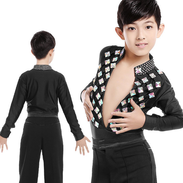 New Boys Latin Ballroom Dance Tops Children Professional Stage Performance Dancing Wear For Kids Cha Cha Rumba Waltz Shirt