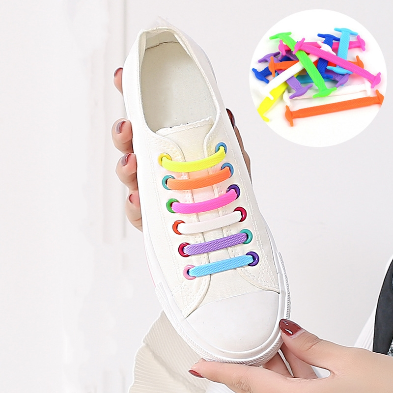 16Pcs/Set Women Men Athletic Running No Tie Shoelaces Fashion Unisex Elastic Silicone Lazy Shoe Lace Fit Strap Sneakers Shoes 12pcs set silicone children adult running no tie shoe lace sneakers solid color lazy elastic latchet adult running no tie shoe