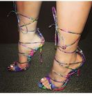 New Arrival Colorized Snakeskin Cross Strappy Lace-up Pumps Women Thin High Heel Peep Toe Sexy Stylish Nightclub Sandals