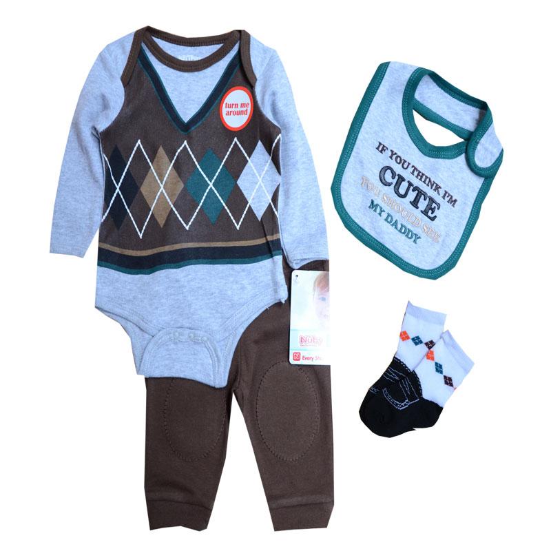 Baby Boys Clothes Sets Autumn Baby Suit Gentleman Boys Bodysuits Pants Bib Socks Clothing Set, 0-9 Months