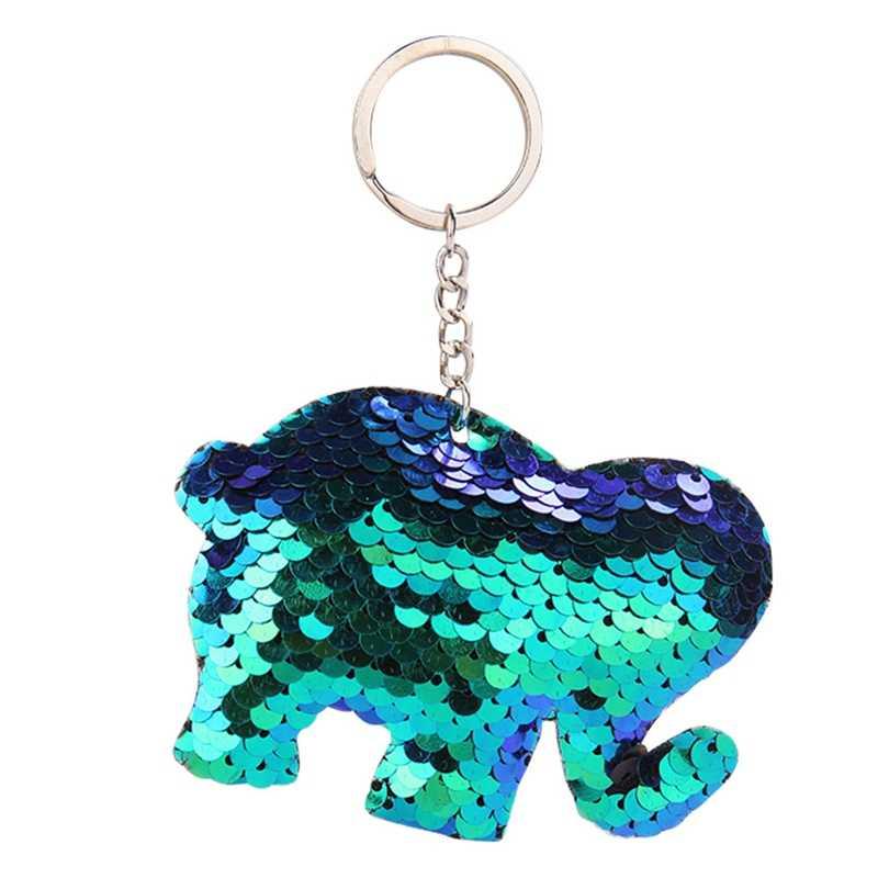 1 шт. прекрасный блестки слон Черепаха модная цепочка для ключей животное Русалка Блестки брелок для женщин Сумочка брелок ювелирные изделия подарок