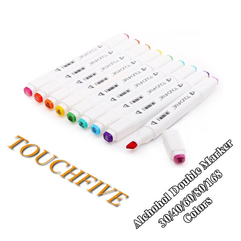 Touchfive 30/40/60/80/168 Colori penna Art Marker Set A Doppia Testa Sketch Marcatori Acquerello spazzola Della Penna Per Disegnare Animazione Manga