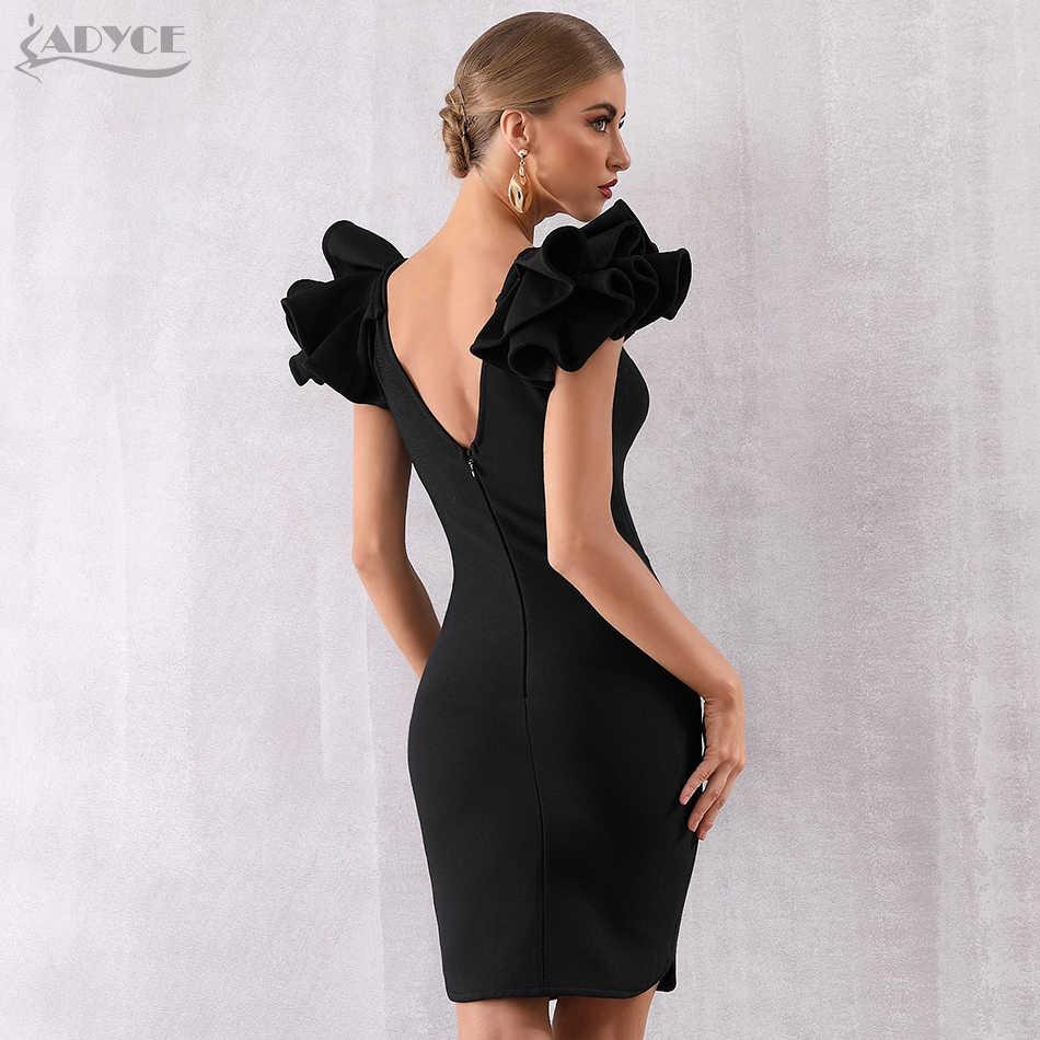 Adyce 2019 Новое поступление летние женские вечерние платья знаменитостей Vestido сексуальные черные рукава-бабочки с оборками Глубокий V Bodycon Клубные платья