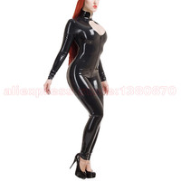 Sexy Women Latex Bodysuit with Front Zip Rubber Costumes Catsuit Plus Size XXXL S LC246