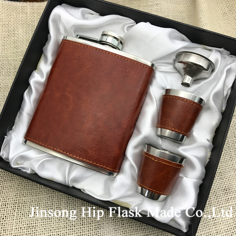 Free shipping 7oz leather wrapped hip flask with 2 cups and funnel in gift box packing