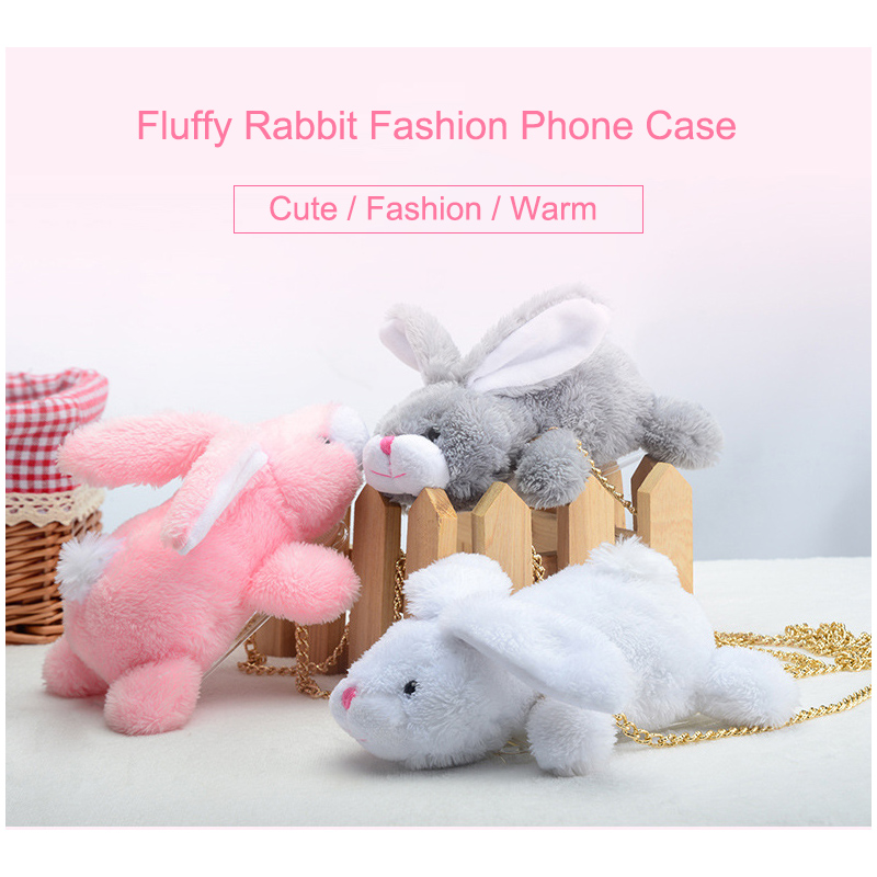 New Cute Animal Plush Doll 3D Fluffy Rabbit Phone Case Coque for iPhone 6 6s 6Plus