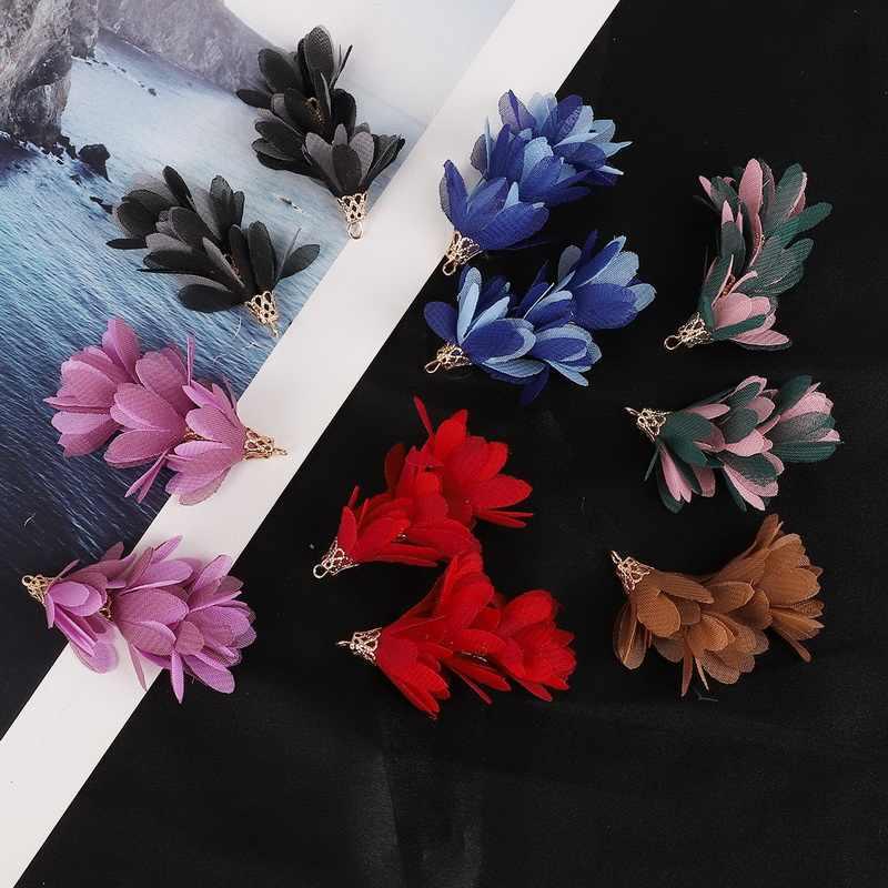 Hot 2 pçs/lote 3 camadas 5.5x3 cm Handmade Bohemian Borlas Flor Moda Encantos para DIY Resultados Da Jóia Brinco fazendo Atacado