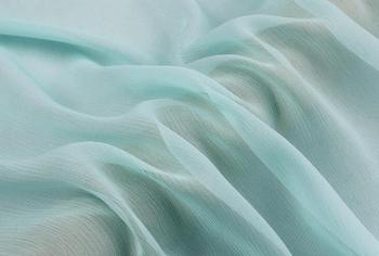 """Howmay  100% pure silk fabric crinkle georgette 5m/m 135cm 51"""" light blue 47# lightweight soft tulle for scarf or dress"""