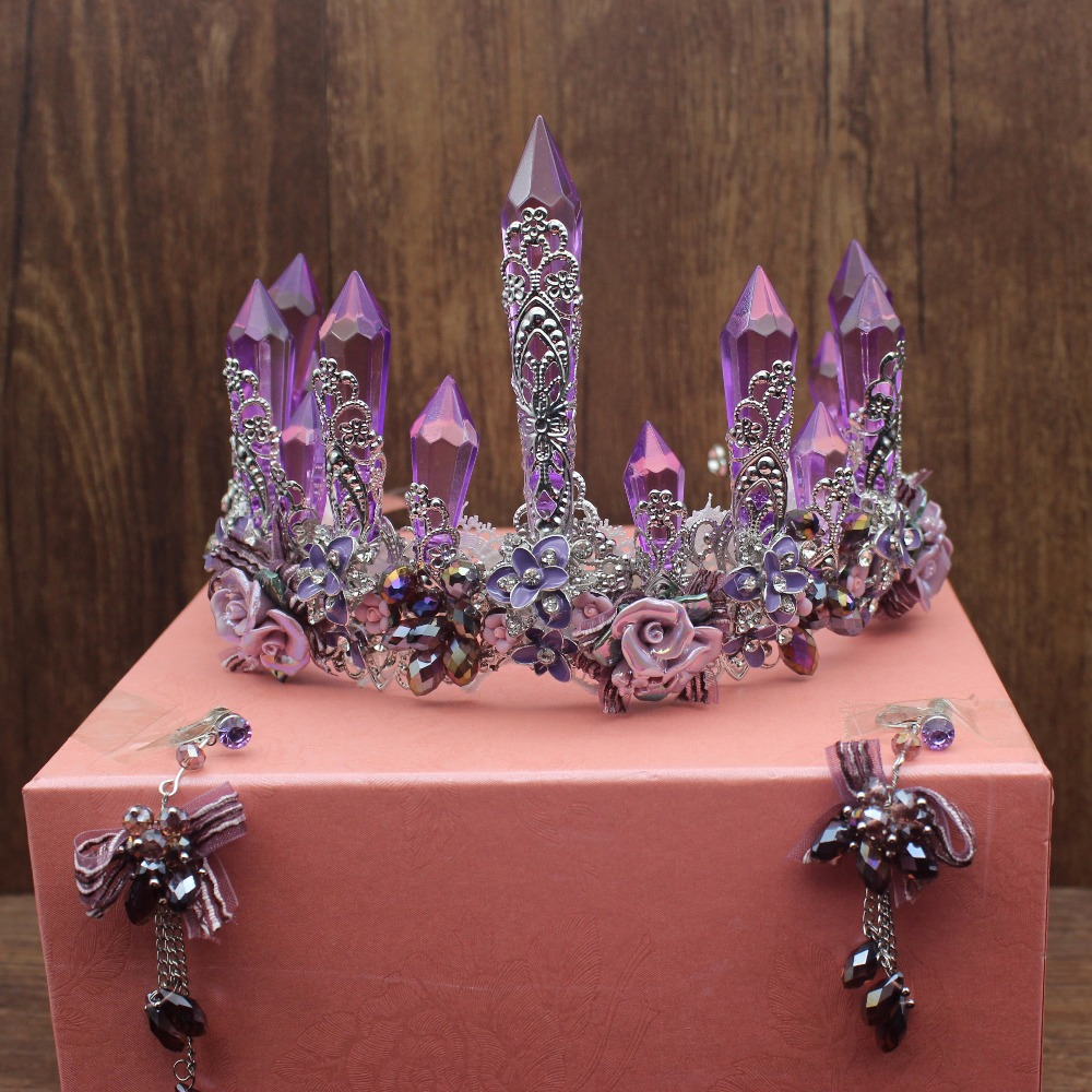 Handmade Luxurious Purple Crystal Bridal Tiara Crowns Queen King Diadem Hair Ornaments Wedding Bride Hair Jewelry
