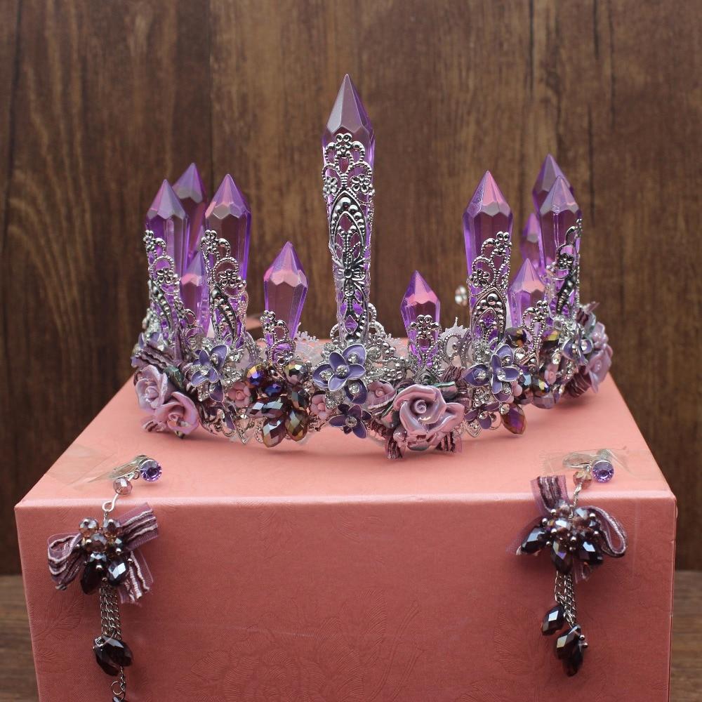Fait à la main luxueux cristal violet mariée diadème couronnes reine roi diadème ornements de cheveux mariage mariée cheveux bijoux accessoires