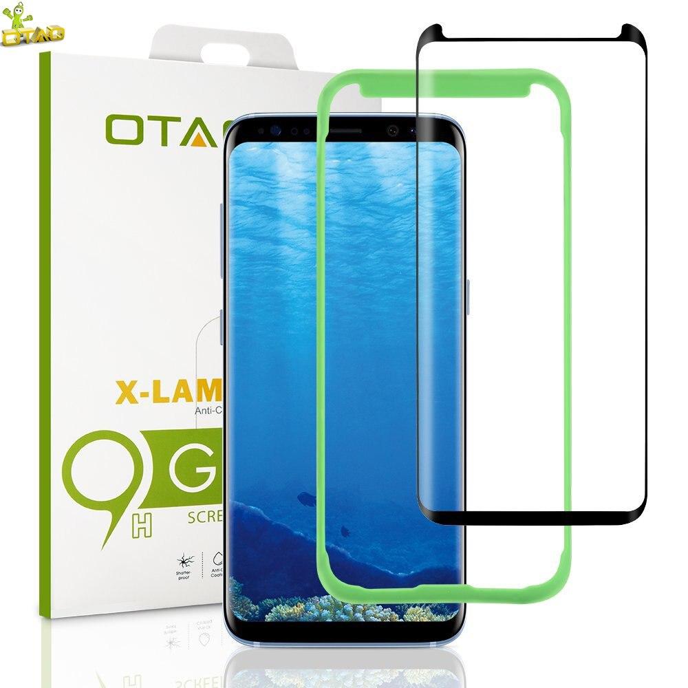 imágenes para OTAO Caso Amigable para Samsung Galaxy S8 Plus 3D Curvada Cubierta Completa de Vidrio Templado Protector de Pantalla Bandeja de La Instalación Posicionador