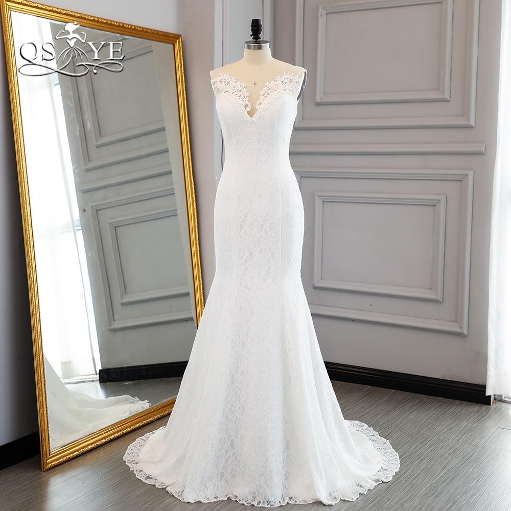 4269a4abb9 QSYYE 2018 New Arrival syrenka koronkowe suknie ślubne elegancka cienka V  Neck otwórz powrót Sweep pociąg
