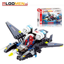 112pcs/set DIY Building Blocks Toy Spiderman Fighter Airplane Action Figure Deformation Toys Children Educational Toy Kids Gifts