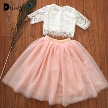 Kids Summer Boutique Clothing Little Lace Tops + Long Skirt Girls Ruffle Outfits Party Costume Toddler Set