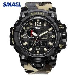 SMAEL العلامة التجارية الرياضة الساعات الرجال التمويه العسكرية ووتش للرجل ساعات ليد الرقمية لليد 50M للماء ساعة 1545B دروبشيبينغ