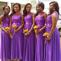 높은 품질 보라색 쉬폰 레이스 들러리 드레스 2018 캡 소매 라인 층 길이 아프리카 여성 웨딩 파티