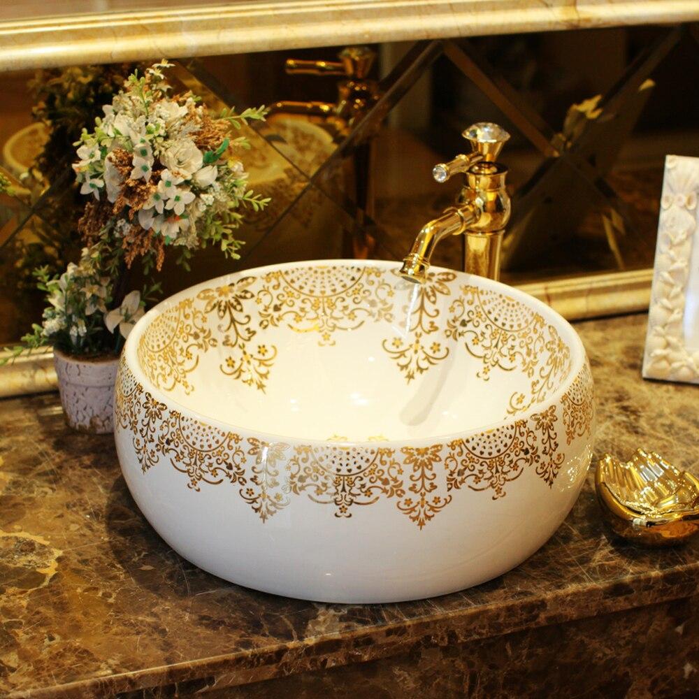 Chinese style above counter basin Jingdezhen ceramic bathroom vanity washbasin basin art basin waist drum ink gold LO621206