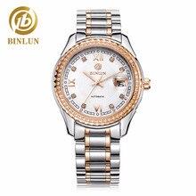 BINLUN Luxury Rose Gold Men Mechanical Watch Tourbillon Automatic Men's Watch Diamond Dial Auto Calendar Waterproof Men Watch