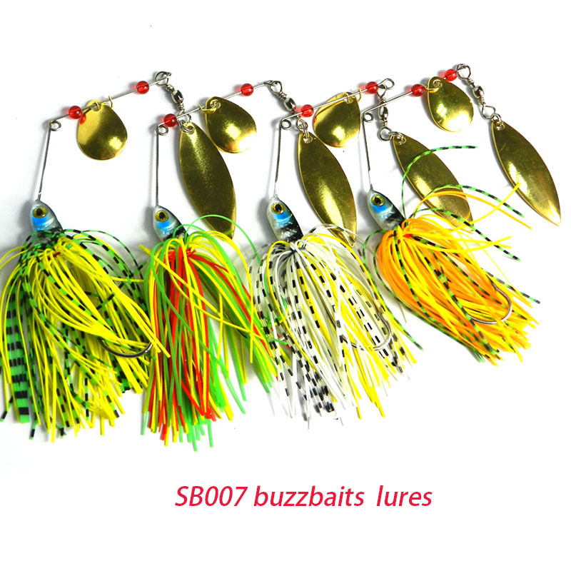 HENGJIA 40pcs 17 4G hard sequin spinner spoon pike bass lead head fishing lures buzzbaits hook