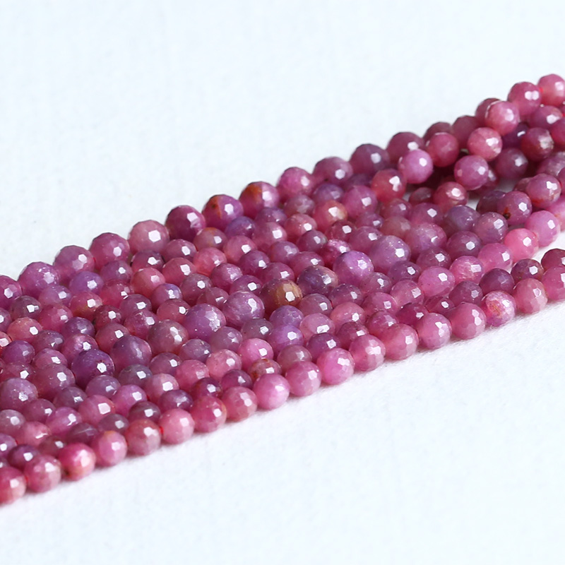 NEW 6mm Faceted Brazilian Rose Red Ruby Gems Round Loose Bead 15/'/'AAA Natural