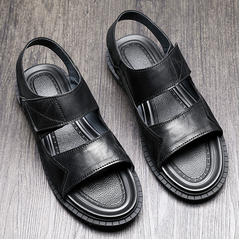 Genuine Leather mens Sandals summer fashion casual Roman sandals male outside anti skid beach shoes mens gladiator sandals in Men 39 s Sandals from Shoes