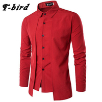 T Bird New Brand 2017 Men Shirt Fake Two Doors Dress Shirt Long Sleeve Slim Fit