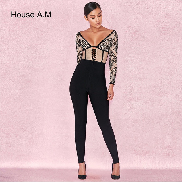 4c82a7b7a283 Jumpsuits Rompers Black Lace Patchwork Deep V Neck Long Sleeve Sexy  Celebrity Evening Party Jumpsuit Runway Rompers Bodysuit