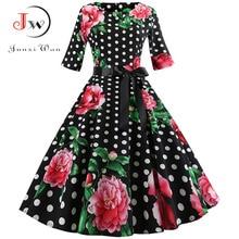 Floral Print Vintage Dress Women 2018 Long Sleeve Elegant Party Dress Autumn Winter Female Casual A-Line Dress Tunic Plus Size