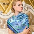 New2014 женщины лето большие квадрат синий desigual цветочный принт 100% чистый шелк шарф леди шарфы шаль 140 * 140cmSK086