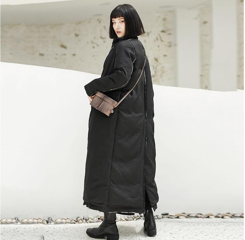 Lâche Mode Hiver Survêtement Femme Black Vintage Chaud Long Manteaux Marque Double De Noir Gx1586 Coton Breasted Longues Parkas Manches Style T7vnFqxw