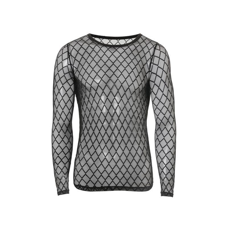 Oprecht Nieuwe Fashion Mens Sexy Transparante Gaas Hemd Utra Dunne O-hals Diamant Mesh Lange Mouwen Fitness T-shirt Mannen Vest Nieuw (In) Ontwerp;