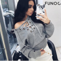 2017 Spring Summer Lace Up Sweater Women Casual Loose Belt Ribbed Top Knitwear Sexy Jumper Elastic Pullover Pull Femme Lacet