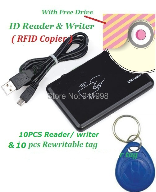 10pccs New USB 125khz RFID Reader Writer ID card Copier Duplicate Copy & 10pcs Free Rewritable Tag Ship With Track Number magnetic card reader msre206 magstripe writer encoder swipe usb interface black vs 206 605 606 ship from uk us cn stock