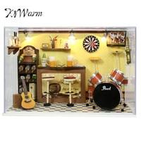 KiWarm Fashion DIY Wooden Dollhouse Kit Miniature Room House Model Taproom Bar Pub+Glass Cover 8inch Ornament Craft Idea Gift
