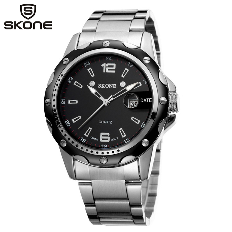 SKONE Mens Watches Military Army Top Brand Luxury Sports Casual Auto Date Mens Watch Quartz Stainless Steel Man Wristwatch hot sale brand military watch date display mens watches full steel watches men s sports army quartz watch free shipping 029b