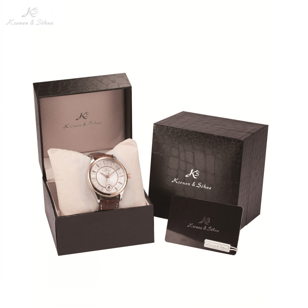 Luxury Gift Box KS Stainless Steel Relogio Masculino Auto Date Leather Band Self Wind Mens Automatic Mechanical Watch /KS261-264 цены онлайн