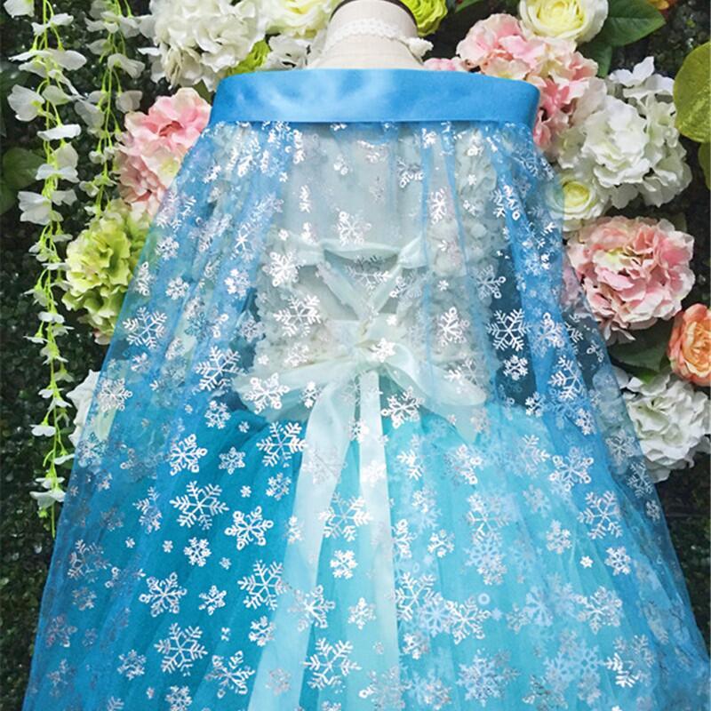150CM*50CM Princess Snowflake Organza Fabric Blue SILVER GLITTER Cosplay Shiner Bright Fabric CAPE Sewing Doll Cloth DIY Craft