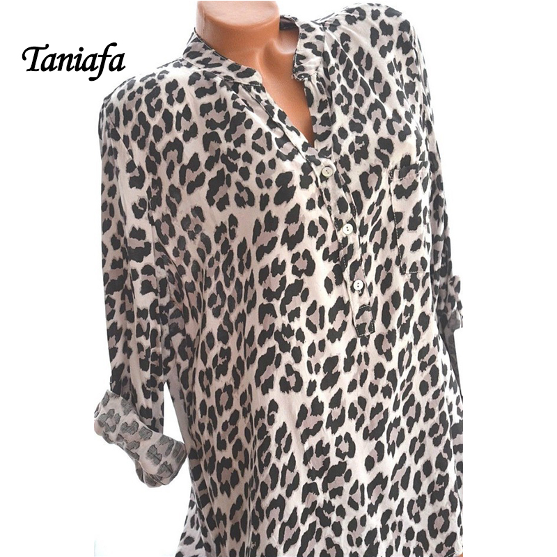 2018 New Arrival Women Blouses Leopard Print Long Sleeve Fashion V-neck Shirt Sexy Casual Office Ladies Blousas Tops Plus Size 1