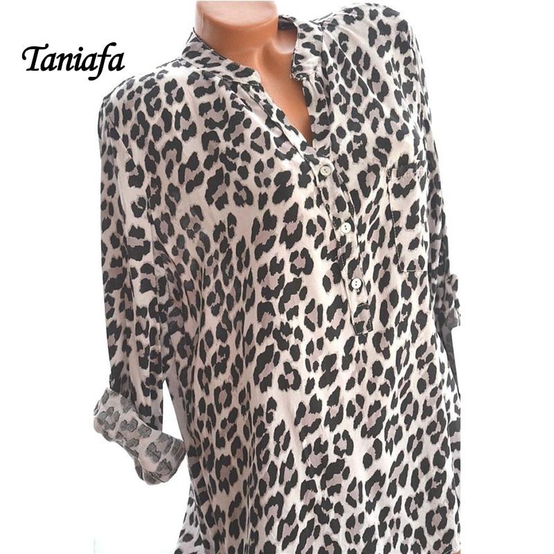 2018 New Arrival Women Blouses Leopard Print Long Sleeve Fashion V-neck Shirt Sexy Casual Office Ladies Blousas Tops Plus Size 1